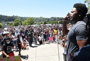 MARIN CITY CA - JUNE 2: Rondell Gibson of Marin City addresses the crowd during a peaceful protest in Marin City, Calif. on Tuesday, June 2, 2020. The event was held in the wake of George Floyd's death while in the custody of Minneapolis police. (Sherry LaVars/Marin Independent Journal)